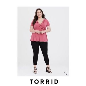 Torrid | Rose Pink Studio Knit Ruffle Top